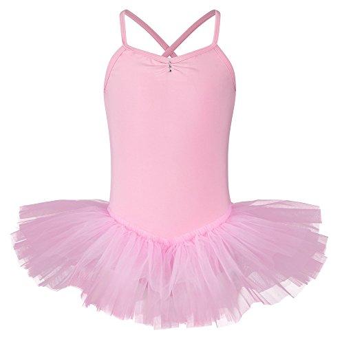 tanzmuster Kinder Ballett Tutu Kim - süßer Spaghetti-Träger Ballettbody mit Tuturock und Glitzersteinen in rosa, Größe:104/110