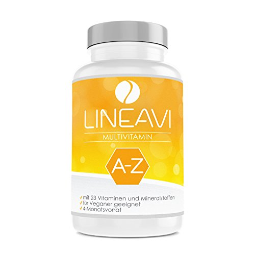 LINEAVI Multivitamin, hochdosiert mit 23 Vitaminen und Mineralstoffen von A-Z, unterstützt die normale Funktion des lmmunsystems, in Deutschland hergestellt, 120 vegane Kapseln (4-Monatsvorrat)