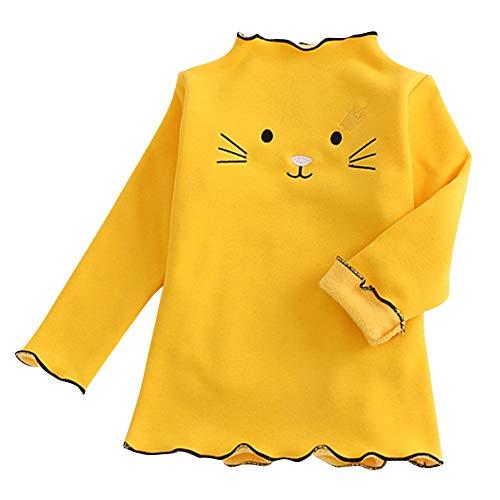 Yamhoo Mädchen Pullover Plus Samt Dickes Besticktes Hemd mit Baumwoll Langarm Shirt Warmem Top Karikatur Ubersteigt Rüsche T-Shirt Kleidung