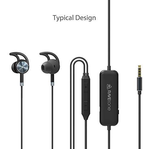 RAVEtone Aktive Noise Cancelling Kopfhörer, verdrahtete HD Stereo In Ear Kopfhörer ANC Starke Bass Sport Earbuds mit eingebautem MIC In-Line Steuerkabel Headsets 15 Stunden Spielzeit w/Travel Case Active-fit-ipod