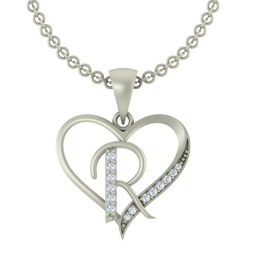 "Kanak Jewels Initial Letter ""R"" In Heart Shaped With Chain Silver Plated Cubic Zirconia Brass Pendant For Everyone"