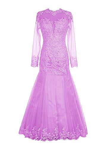Find Dress Longue Robe de Mariée Hiver Princesse Femme Paillette Robe de Cocktail Soirée Manche Longue Robe Demoiselle d'Honneur Femme Grande Taille en Tulle avec Dentelle Lilas