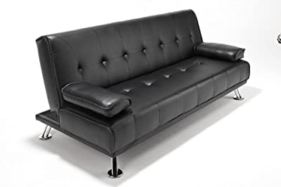 Faux Leather Sofabed Futon Sofa Bed With Chrome Feet by Limitless Base (black)