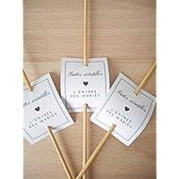 Lot 25 étiquettes papier pour bâton étincelle, cierges magiques, Faites scintiller l'entrée des mariés, cadre gris, symbole coeur, texte noir
