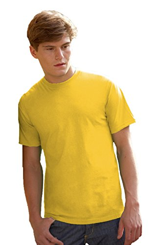 Maglietta Maniche Corte Uomo Fruit Of The Loom Valueweight T-Shirt Manica Corta, Colore: Giallo, Taglia: XL