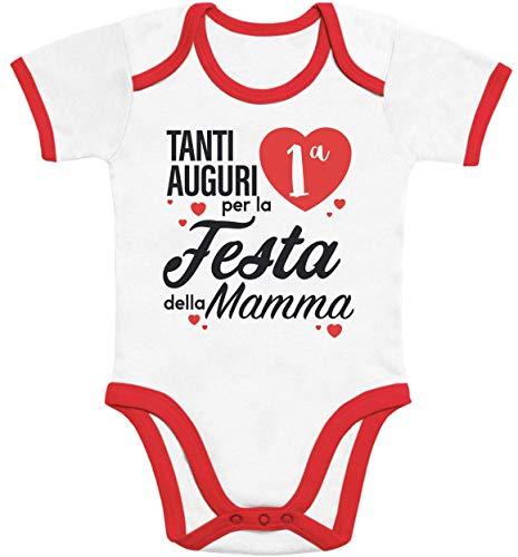 28018780df1060 Tanti Auguri per la Prima Festa della Mamma Body Neonato Manica Corta 12-18  Mesi