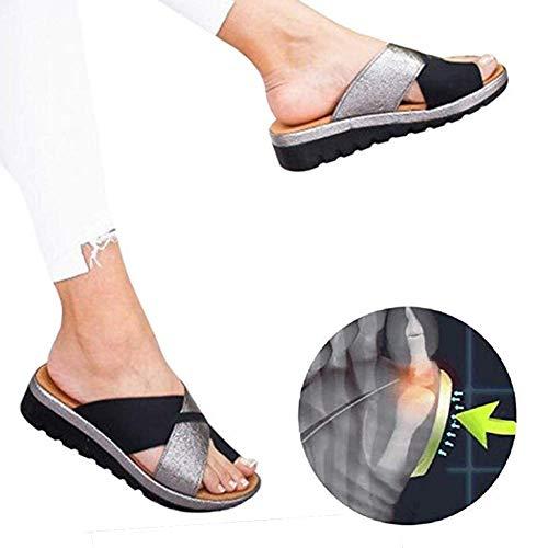 Plataformas Sandalias de Mujer Plana Cuero de PU Zapatillas Corrector de juanetes ortopédico Casuales...
