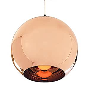 Boule Lampe Suspension Lustre Plafond Vintage Abat-jour en Cuivre Poli Bronze ( sans ampoule)