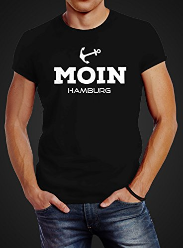 Herren T-Shirt Moin Hamburg Anker Slim Fit Neverless® Moin Hamburg schwarz  ...