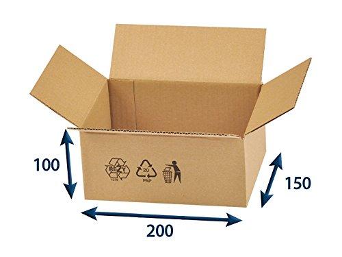 Preisvergleich Produktbild 25 x Versandkartons (Faltschachteln, Faltkarton, Wellpappkarton, Wellpappfaltkarton, Kartons), 3-Sicht, 200x150x100mm