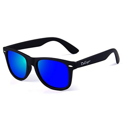 Dollger Klassische polarisierte Wayfarer Sonnenbrille Horn umrandeten Rahmen Spiegel Objektiv(Dunkelblau+Matt-Schwarz)