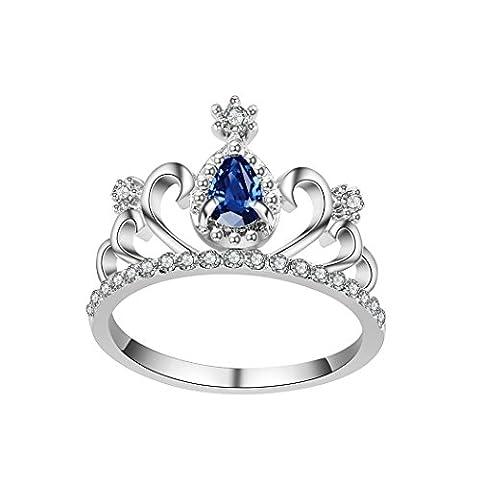 Aokbi 2017NEUF Hot brillant élégant Design de mode Autrian Strass Cristal en forme de couronne Plaqué argent Bague de doigt, strass Alliage, rose vif, 8
