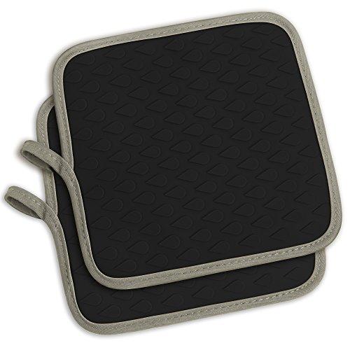 tophome Mehrzweck quadratisch Ofenhandschuhe Grillen Handschuhe Silikon rutschfeste Trocknen, Silikon Küchenhandschuh hitzebeständig Hot Pads insulationwaterproof schwarz