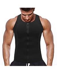 NOVECASA Chaleco Sauna con Cremallera Hombre Sauna Vest Zipper Compresion de Neopreno Modelador Camiseta Reductora para