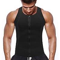 NOVECASA Chaleco Sauna con Cremallera Hombre Sauna Vest Zipper Compresion de Neopreno Modelador Camiseta Reductora para Adelgazante Sudoración Musculación (3XL(Cintura 106-112CM), Chaleco Negro)