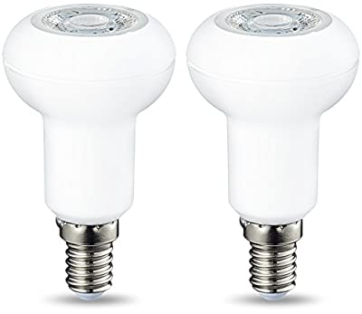 AmazonBasics LED E14 Small Edison Screw R50 Reflector Bulb, 3.5W (equivalent to 40W), Warm White, Dimmable- Pack of 2 by AmazonBasics