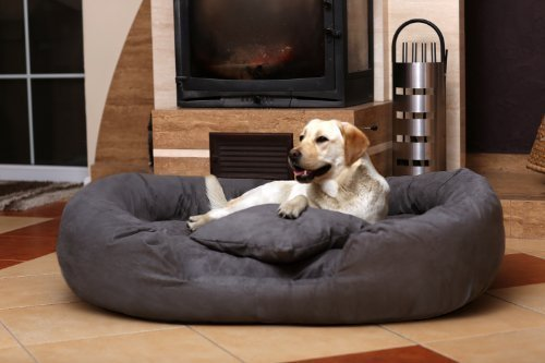TIERLANDO Ph4-AA-02 PHILIP Hundesofa Hundebett Gr. XL 110cm Velours Graphit (Grau)