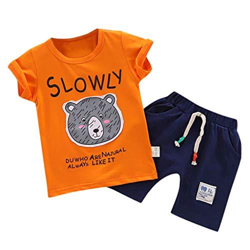 Zylione Jungen Kleidung Set Kinder Baby Kurzarm Cartoon Bär T-Shirt Shorts 11 Stück Set