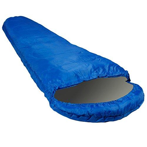 Schlafsack Mumienschlafsack Blau 230x80x50cm mit Wäremekragen und praktischem Tragebeutel