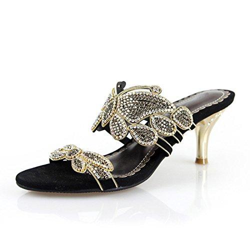 ZYUSHIZ L'été en plein air sandales pantoufles Mme étudiants minimaliste de diamants synthétiques Bow-tie 39EU