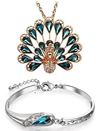 Valentine Gifts : YouBella Jewellery Valentine Collection Crystal Combo Of Peacock Pendant Necklace Set And Bangle...