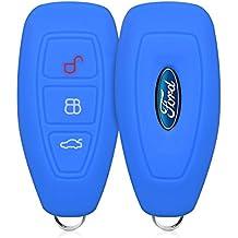 kwmobile Funda de silicona para llave Keyless Go de 3 botones para coche Ford - cover de llave - key case en azul