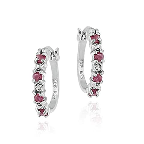 Sterling Silver Genuine Diamond and Ruby Hoop