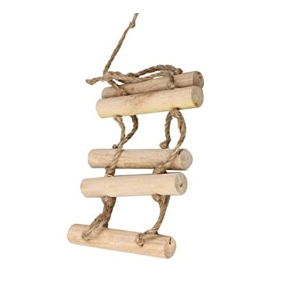 Toy Bridge Ladder - SODIAL(R)Small Parrot Rat Toy Bridge Ladder Hamster Bird Cage Accessories Wood color 3
