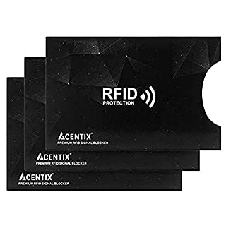 3 X ACENTIX Black Waterproof RFID&NFC Blocking Sleeves for Credit Card,RFID Card Holder,Anti Identity Theft,Design Perfectly Fits Wallet/Purse