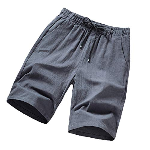 reizeit Leinen Lose Gürtel Kordelzug Strand Sport Shorts Hose Fashion Casual solid Color Loose Beach Shorts Dunkelgrau Blau Grau Schwarz M L XL 2XL 3XL 4XL ()