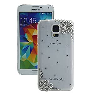 Diagonal Flowers Pattern PC & Rhinestone Protective Case for Samsung S5/i9600