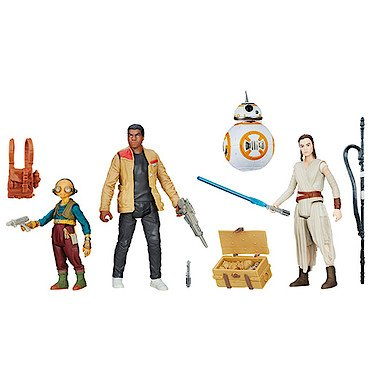 Star Wars Lot de 4 Figurines articulées par Hasbro B6815 - Takodana Encounter - Rey, Finn, Maz Kanata et BB-8