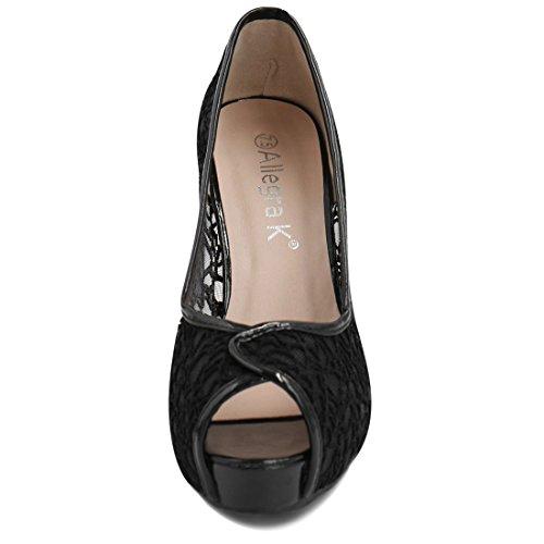 Allegra K femmes Peep Toe Stylet Pompes plate-forme panneau dentelle Black