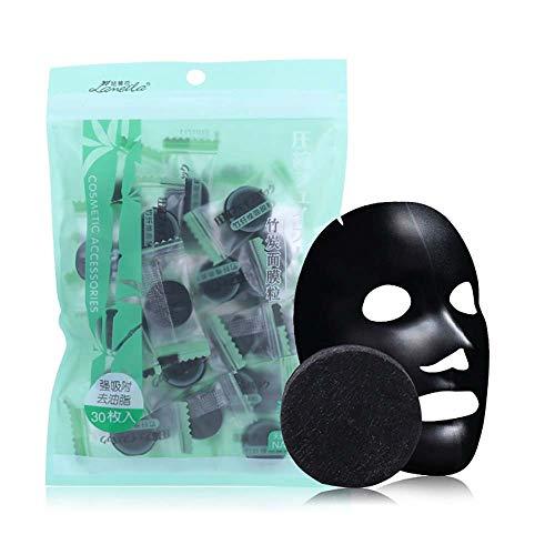 Cooljun 30 Pièces Compressé Masque Feuille Masque Noir Charbon de Bois Masque Maison DIY Soins de la Peau