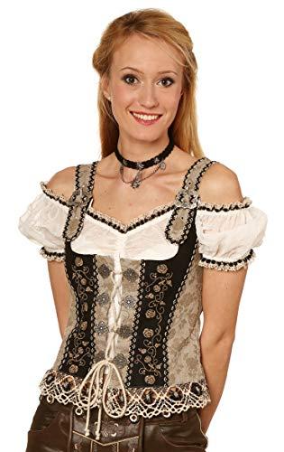 Michaelax-Fashion-Trade Fuchs Trachten - Damen Trachten Mieder (Artikelnummer: 4583), Größe:44, Farbe:Natur-Schwarz