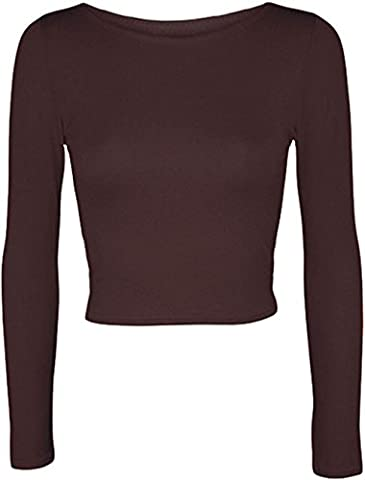 New Womens Crop Long Sleeve Cropped Crop Top T Shirt Ladies Short Plain Round Neck Top 8 - 14 (S/M (UK 8-10), BROWN)