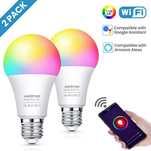2er Smart WiFi Lampen E27 LED Smart Wlan Glühbirnen Dimmbar Timing Fernbedienung
