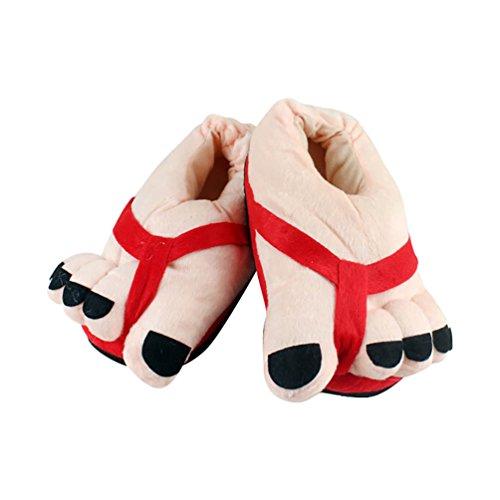 en Chauds Pantoufle Chaussons Rouge Adulte 36 et Hiver Peluche YOUJIA pour Chaussures 38 dintérieur Unisex Rigolos Taille Confortables R5qw40g