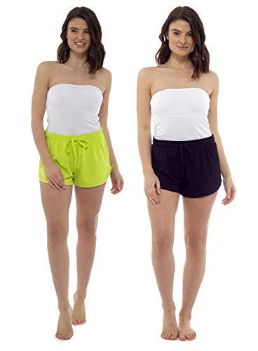CityComfort Damen Shorts Damen Strandhosen 2er Pack Womens Beachwear Sommerurlaub wesentlich (16-18, Marine/Limette) (Workout-shorts Frauen-pack Für)
