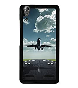 Fuson Premium 2D Back Case Cover Aeroplane With Green Background Degined For Lenovo A6000 Plus
