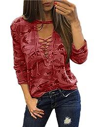 MEIbax Moda Mujeres Camisa de Manga Larga Blusa Casual Delgada Camuflaje Tops de impresión
