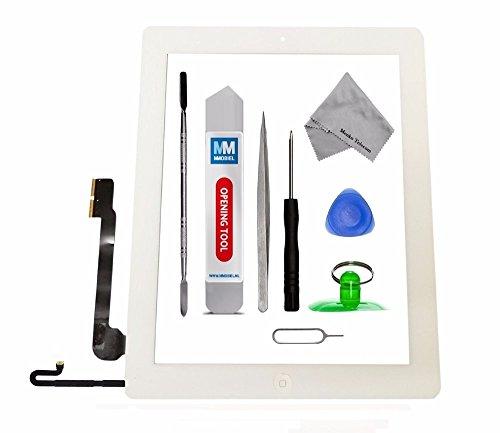 MMOBIEL Digitalizador Pantalla táctil frontal para IPAD 4 (Blanco) Incluye botón de inicio y cable flex soporte cámara adhesivos pre instalados kit profesional de herramientas para una fácil instalación.