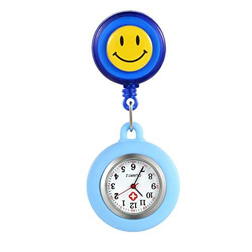 LANCARDO Uhren, Silikon Krankenschwester Armbanduhr FOB-Uhr Damen Lächeln Digitale Analog Revers Stretch verstellbar Länge Taschenuhr (blau)