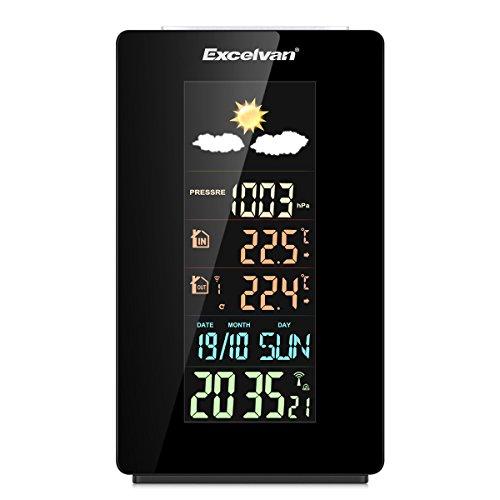 Excelvan - Funkwetterstation mit Außensensor (LCD Display, Farbdisplay, Funkuhr, Dual Wecker, Temperaturvorhersage, Wettervorhersage, Feuchtigkeit, RCC, USB Anschluss für Handy, Tablet)