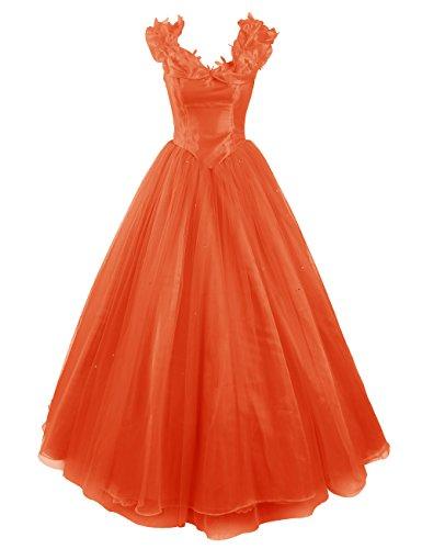 Dresstells, Robe de Cendrillon, robe de cérémonie/soirée/bal longueur ras du sol, mode de bal Orange