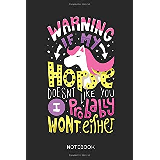 Warning If My Horse Doesn't Like You I Probably Won't Either: Lined notebook for horse lovers