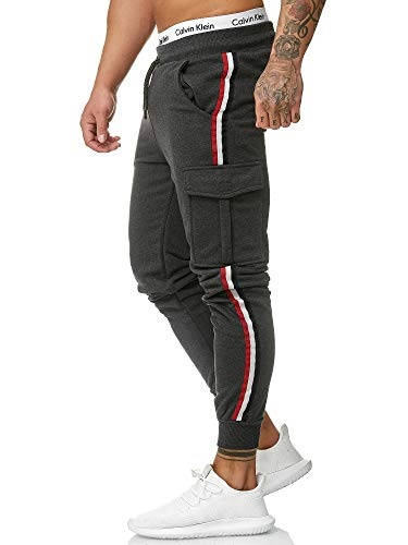 OneRedox Herren | Jogginghose | Trainingshose | Sport Fitness | Gym | Training | Slim Fit | Sweatpants Streifen | Jogging-Hose | Stripe Pants  Modell 1318 Antrazit M