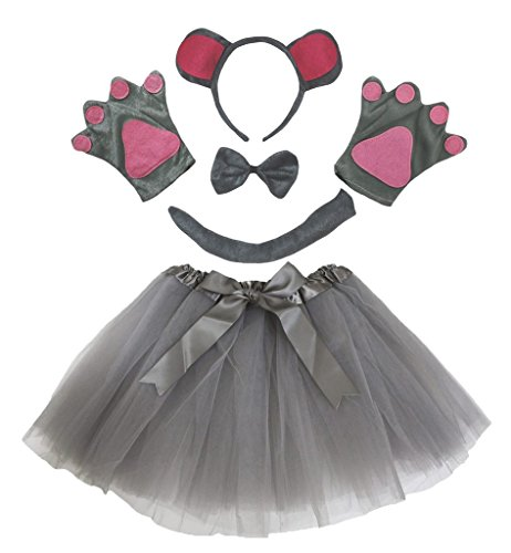 Petitebelle Gray Grizzly Headband Bowtie Tail Gloves Tutu 5pc Children Costume (One Size)