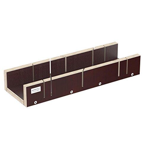 AUPROTEC Schneidlade XXL 400 x 135 x 68 mm Multiplex Birkenholz beschichtet Siebdruck präzise Gehrungslade für 22,5 ° 45° 60° und 90° Winkel