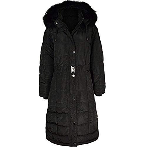 Fashion Thirsty Womens Ladies Long Winter Coat Padded Quilted Puffa Jacket Fur Hooded Plus Size (Puffa Coat Frauen)